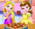 Baby Rapunzel and belle pizza